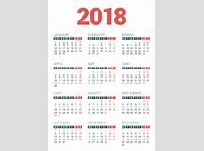 Calendar for 2018 Year on White Background Week Starts