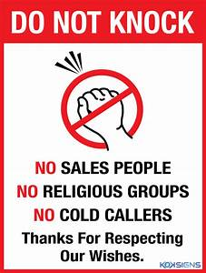 DO NOT KNOCK NO SALES PEOPLE NO RELIGIOUS GROUPS - VINYL
