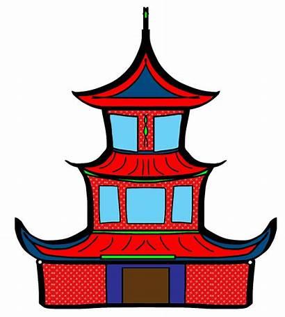 Chinese Clipart Cina Baru Tahun Temple Gambar