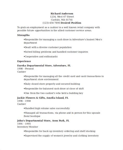 Customer Service Cashier Resume Objective by Sle Cashier Resume 7 Exles In Word Pdf