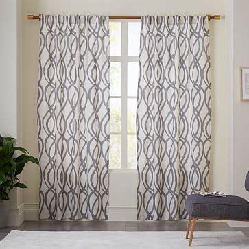 cotton canvas scribble lattice curtains set