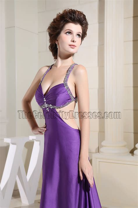 Sexy Purple Beaded Backless Evening Dresses Prom Gown