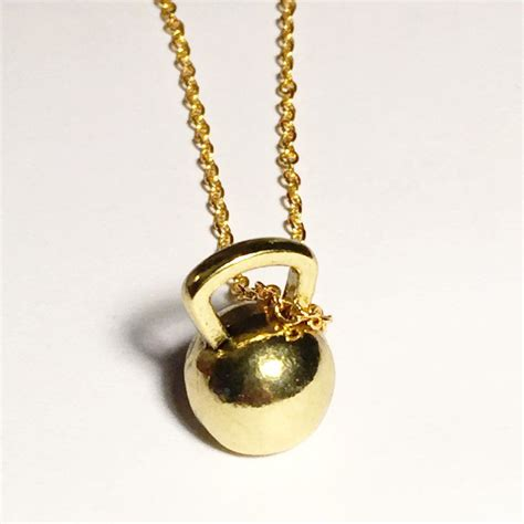 kettlebell plated 18k necklace