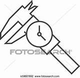 Caliper Outline Icon Fotosearch Clipart Measurement Millimeter Accuracy Dial Instrument Thin Equipment sketch template