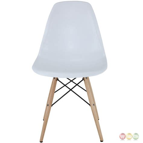 set of 2 pyramid modern molded plastic side chairs w wood