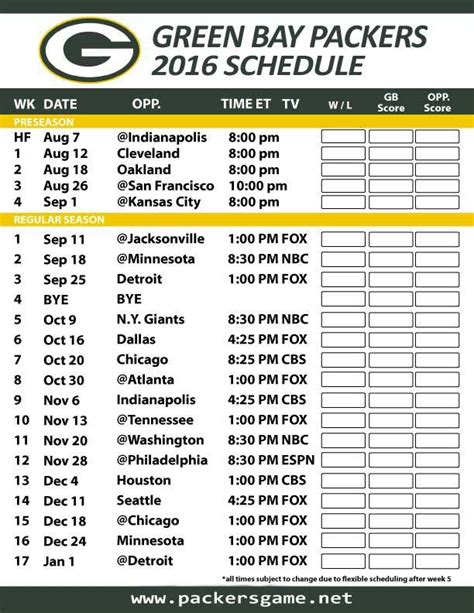 green bay packers games schedule   official space