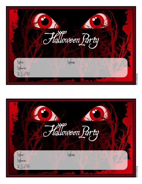 scary monster eyes halloween party invitations  print
