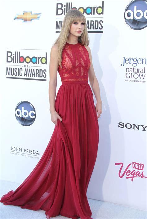 Taylor Swift Red Lace and Chiffon Long Dress BBMA - Xdressy