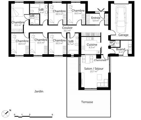 plan de maison de plain pied avec 3 chambres plan maison plain pied 6 chambres ooreka
