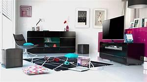 Meuble Laqué Noir : meuble tv bump laqu noir noir brillant ~ Premium-room.com Idées de Décoration