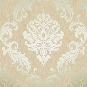 Henderson Interiors Chelsea Glitter Damask Wallpaper Cream ...