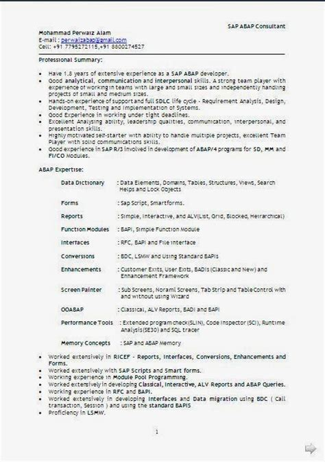 Technical Resume Format by Technical Resume Format In Word