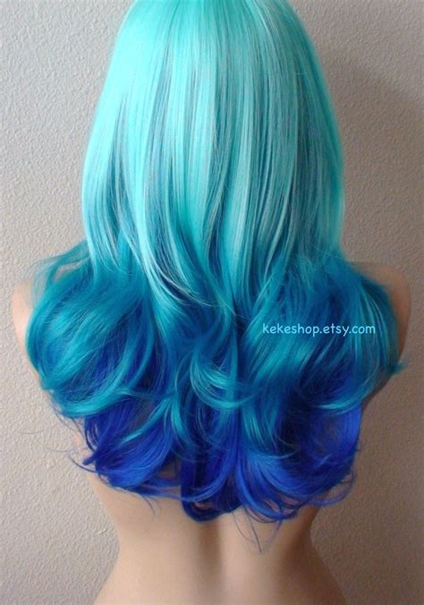 Mint Blue Teal Electric Blue Ombre Wig Blue Color Curly