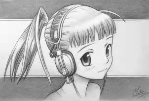 Manga Girl with Headphones