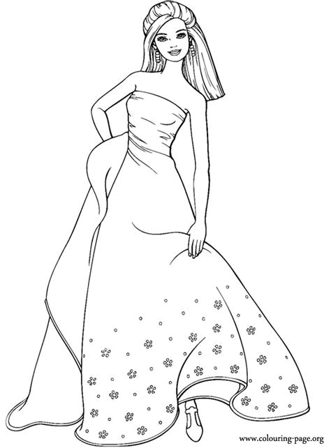 barbie barbie wearing  long dress coloring page