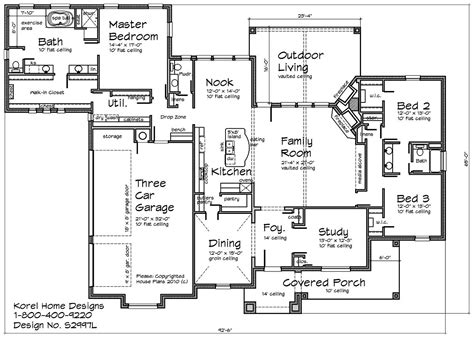 Floors Plans : Country Home Design S2997l