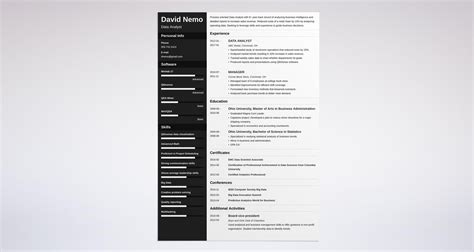 data analyst resume sle complete guide 20 exles