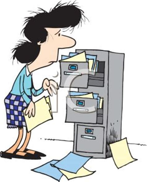 Frazzled File Clerk Clip Art   Royalty Free Clipart