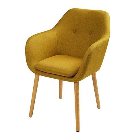 chaise jaune moutarde mustard yellow fabric armchair arnold maisons du monde