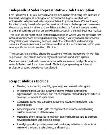sample sales representative job description  examples