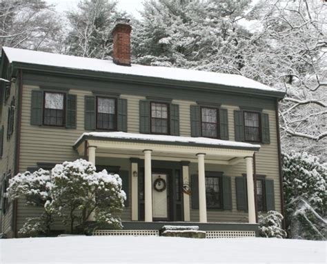 federal style house in snow home colors