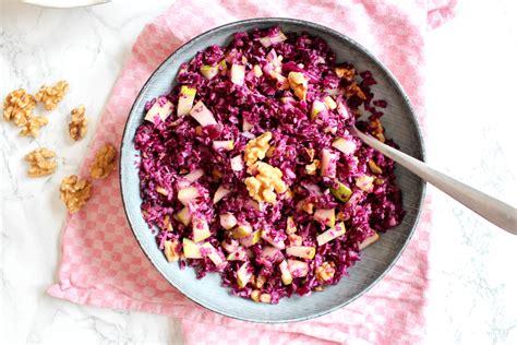 red cabbage  pear salad  walnuts
