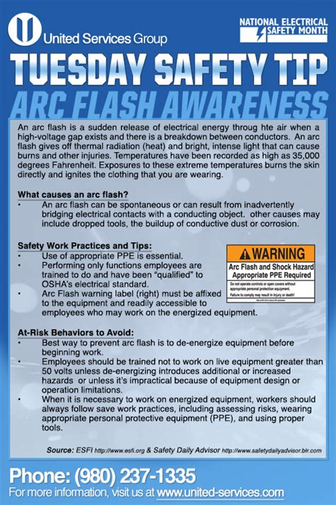 weeks tuesday safety tip    arc flash