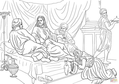 woman washing jesus feet   hair coloring page  printable coloring pages