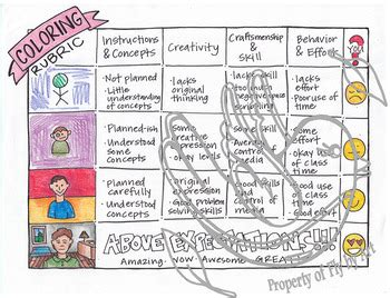 Coloring Rubric by Coloring Rubric By Fly By Teachers Pay Teachers