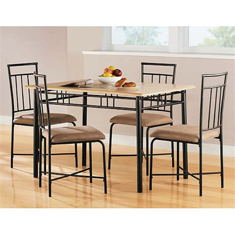 walmart kitchen table chairs mainstays 5 piece wood and metal dining set natural