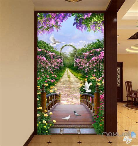 flowers garden bridge arch corridor entrance wall mural