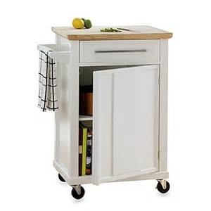 Wheeled Kitchen Islands Real Simple Rolling Kitchen Cart In White Bed Bath Beyond