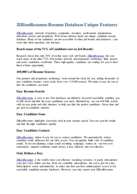 Resume Features by Zillion Resumes Resume Database Unique Features