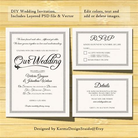 Wedding Invitation Template Instant Download Printable