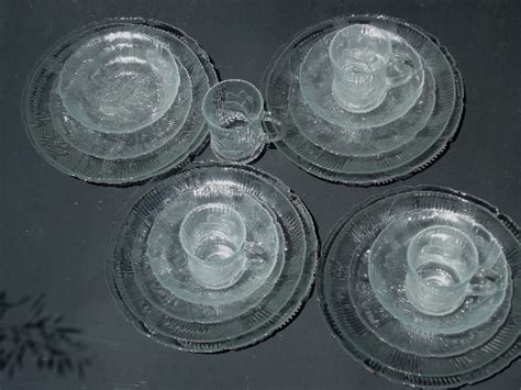 French Arcoroc glass Canterbury pattern dishes, complete