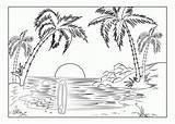 Coloring Adults Beach Scene Pages Scenery sketch template