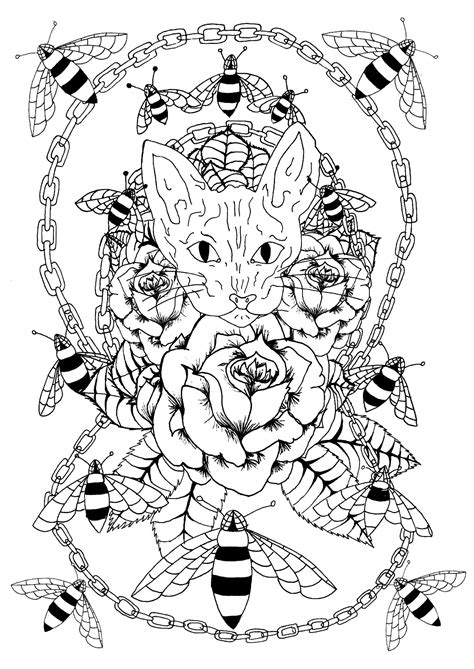 Sphynx cat, bees and metal chain - Tattoos Adult Coloring