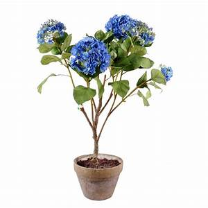 Grande Plante Artificielle : hortensia artificiel bleu 105 cm de haut 75 cm large pot terre cuite ~ Teatrodelosmanantiales.com Idées de Décoration