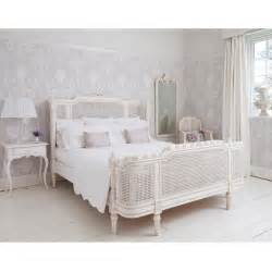 luxury white bedrooms interior decorating ideas with white wicker rattan bed furniture using