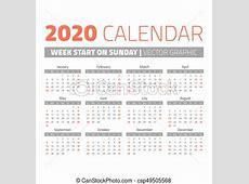単純である, カレンダー, 2020, 年 週, 単純である, 始める, 日曜日, カレンダー, 2020, 年