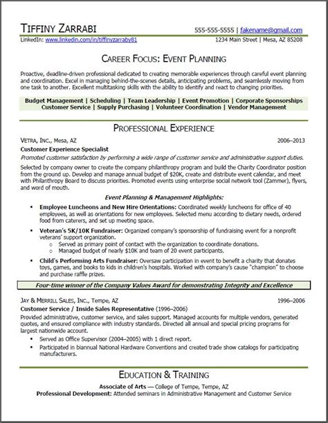 Planner Resume by Event Planner Resume Event Planner Resume Career