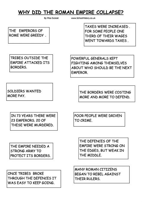 the collapse of the roman empire worksheet year 7