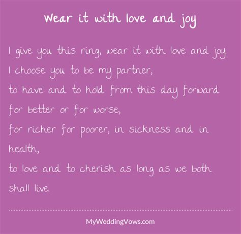wear   love  joy   wedding vows wedding