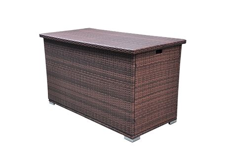 Brown Rattan Outdoor Patio Wicker Deck Storage Box