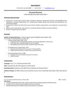 resume format for software developer in software developer resume sle template