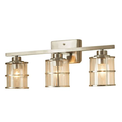 shop allen roth kenross 3 light brushed nickel cage vanity light bar at lowes