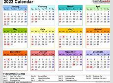 2022 Calendar PDF 17 free printable calendar templates