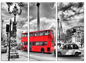 Red london bus canvas prints set of 3 for your bedroom for London wall art