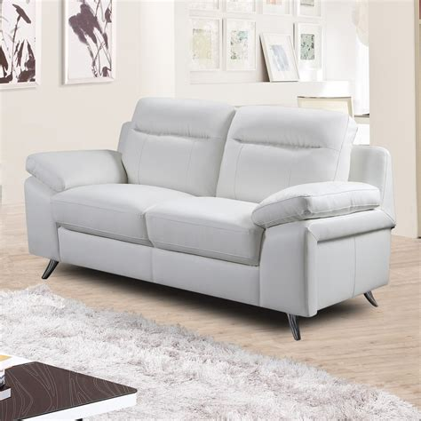 Settee Collection by Nuvola Italian Inspired Modern White Leather Sofa Collection