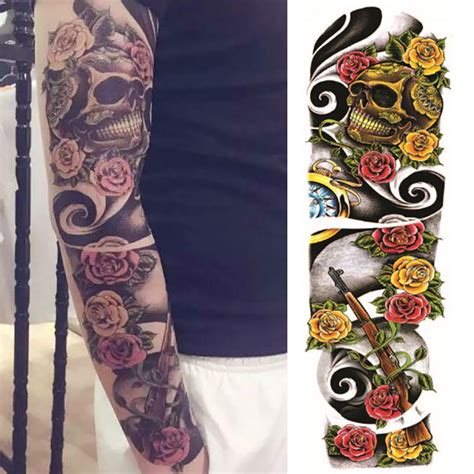 buy fake rose gun tattoos large waterproof temporary skull tattoo antiwar